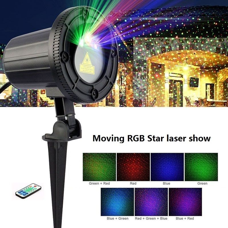 RGB Laser Christmas Lights Stars Red Green Blue showers Projector <font><b>Garden</b></font> Outdoor Waterproof IP65 For Xmas Decoration with Remote