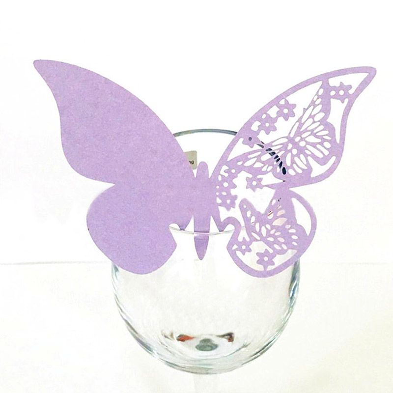 50pcs Wedding Supplies Butterfly Name Place Card Holder Party Table Wine Glass Escort Cup Card Event Banquet Paper Decoration