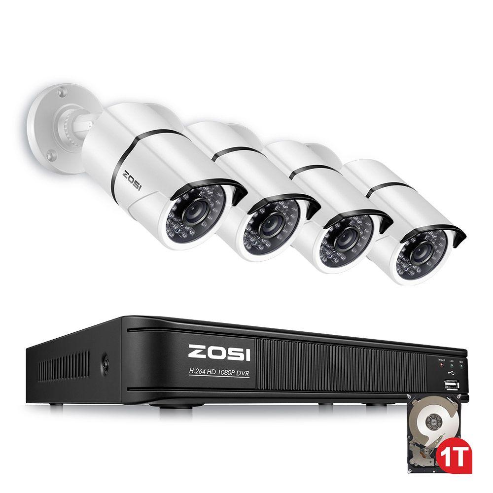 ZOSI 4CH AHD-TVI 1080 P Sicherheit Kamera System mit (4) 2.0MP 1920TVL Indoor/Outdoor Wetterfeste Gewehrkugel Kameras