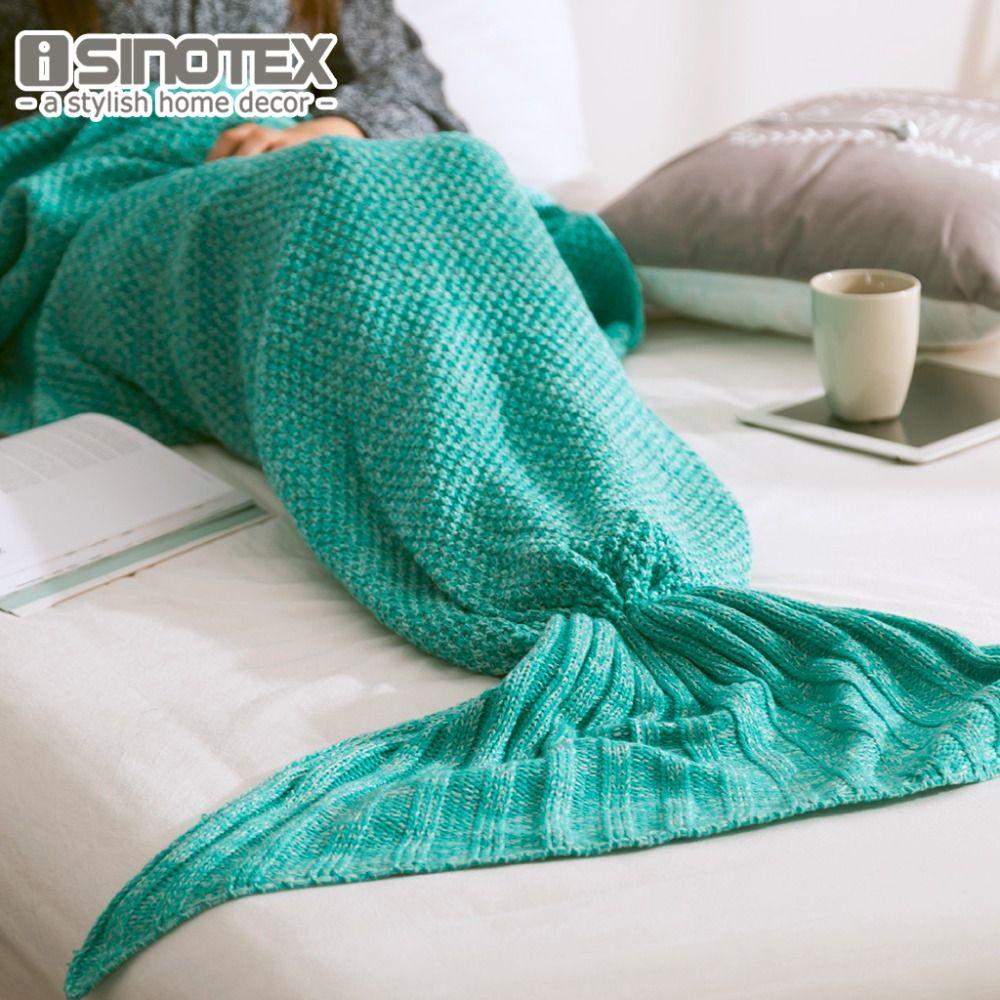 Mermaid Tail Blanket Yarn Knitted Handmade Crochet Mermaid Blanket Kids Throw Bed Wrap Super Soft Sleeping Bed 3 Sizes 1PCS/Lot