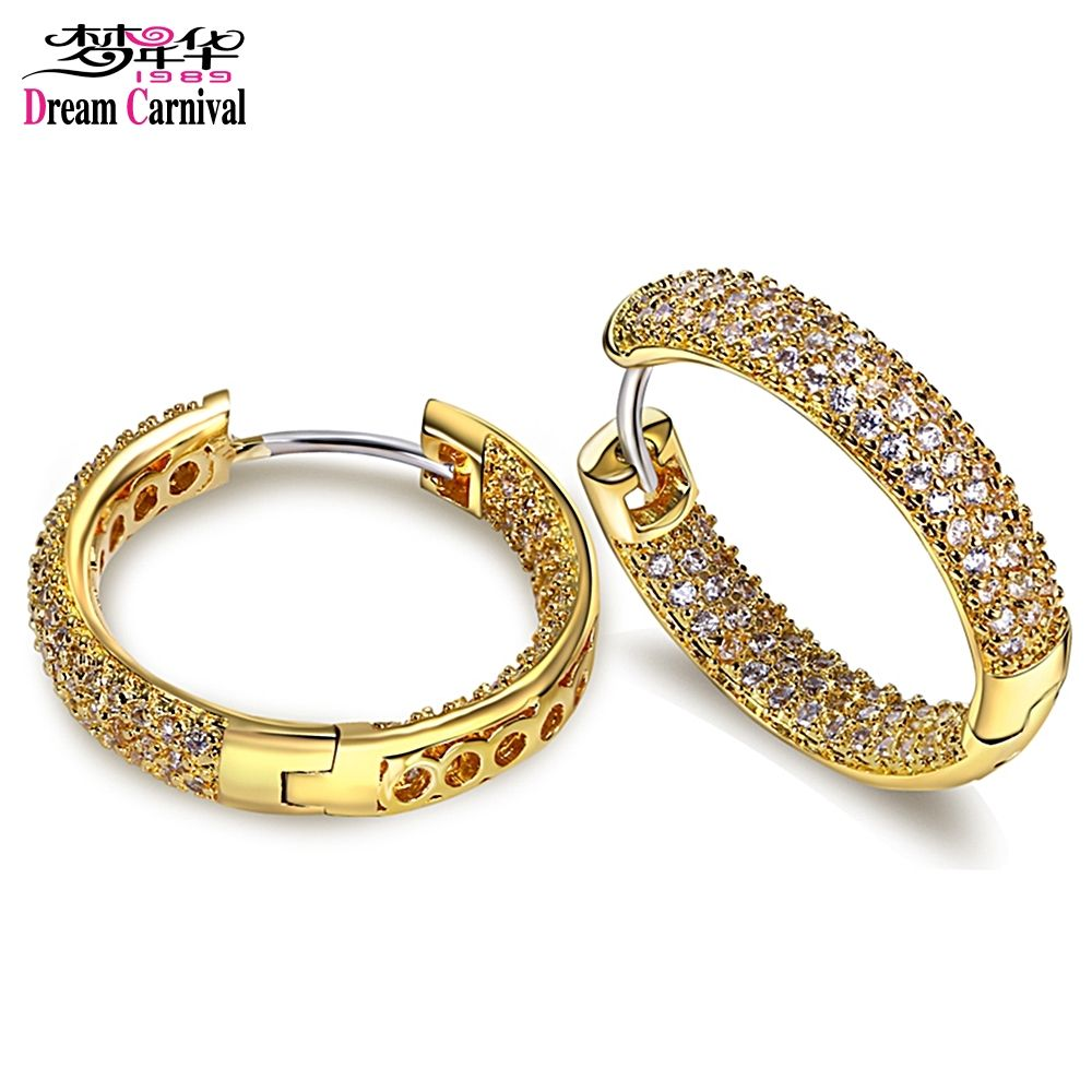 DC1989 High quality Fashion Hoop Earrings for Women Rhodium or Gold-color Synthetic White Cubic Zirconia Lead Free SE04633