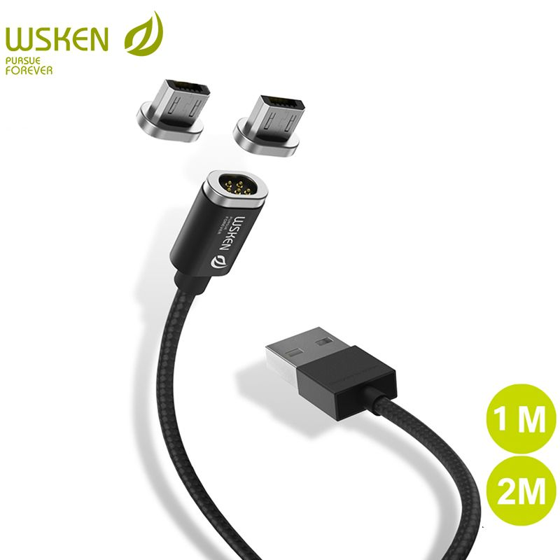WSKEN Mini 2 LED Magnetic USB Cable Fast Charging Magnetic Charger Micro USB Cable For Samsung S6 S7 Edge Micro USB Phone 1M 2M