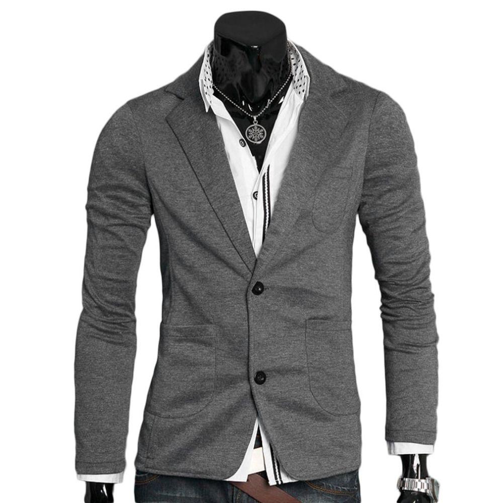 Демисезонный Для Мужчин's Повседневные комплекты одежды Для мужчин ультра-тонкий куртка одной кнопки хлопок пиджак мужской отложной воротн...