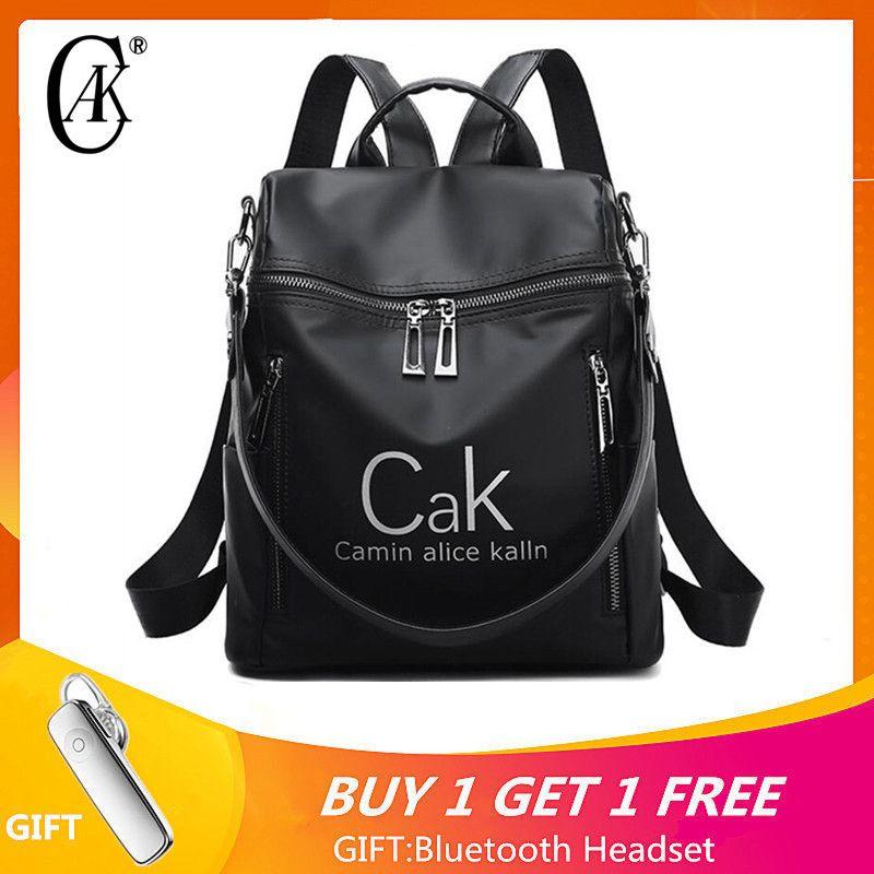 CAK De Luxe Marque sac à dos pour femme Sacs Noir Nylon Imperméable qualité supérieure sac à dos de voyage Pour Jeune Dame style universitaire Féminin Sac