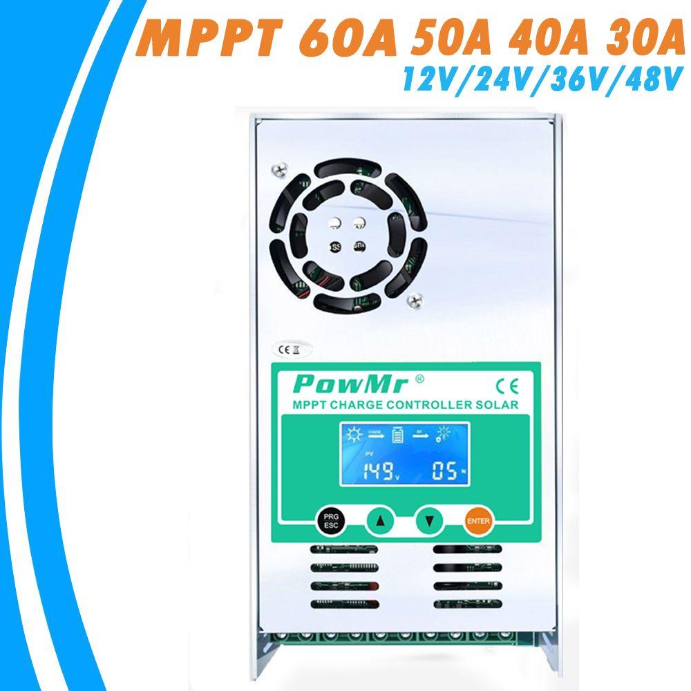 PowMr MPPT 60A 50A 40A 30A Solar Charge and Discharge Controller 12V 24V 36V 48VAuto for Max PV 190VDC Vented Sealed Gel <font><b>Nicd</b></font> Li
