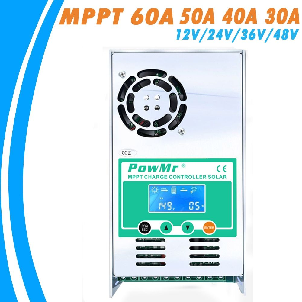 PowMr MPPT 60A 50A 40A 30A Solar Charge and Discharge Controller 12V 24V 36V 48VAuto for Max PV 190VDC Vented Sealed Gel Nicd Li