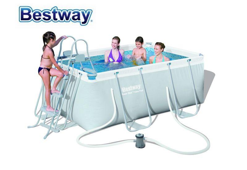Nur 4 sätze Links! 56409 Bestway 287*201*100 cm Power Stahl Rechteckigen Rahmen Pool Set (Pool, Filter Pumpe, sicherheit Leiter) Für Familie