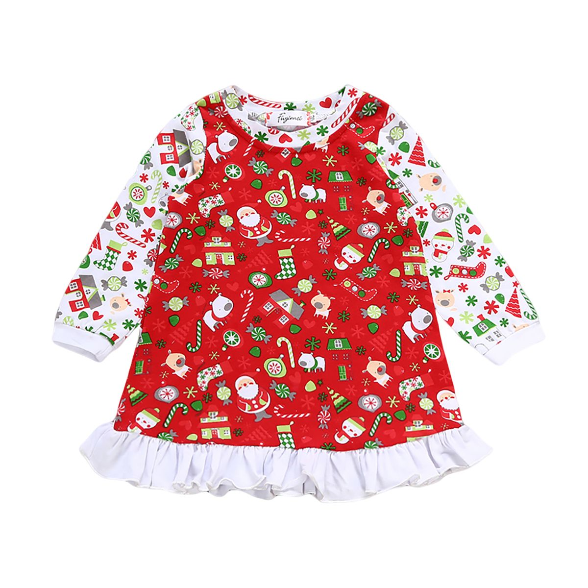 Bebé niño Niños Niñas Ropa Para Bebés de Navidad Princesa Del Partido Del Vestido Ocasional de Manga Larga Ropa Dulce