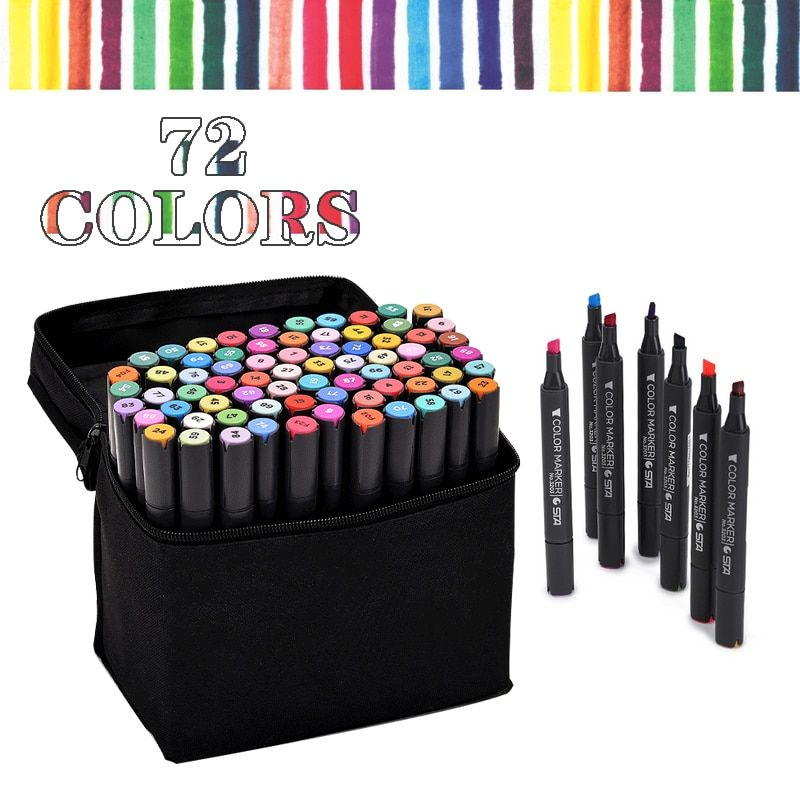 Free Shipping from RU Alcohol Based Ink 72 Color set Marker Set Double Headed Marker Pen Animation Paint Sketch Art Marker