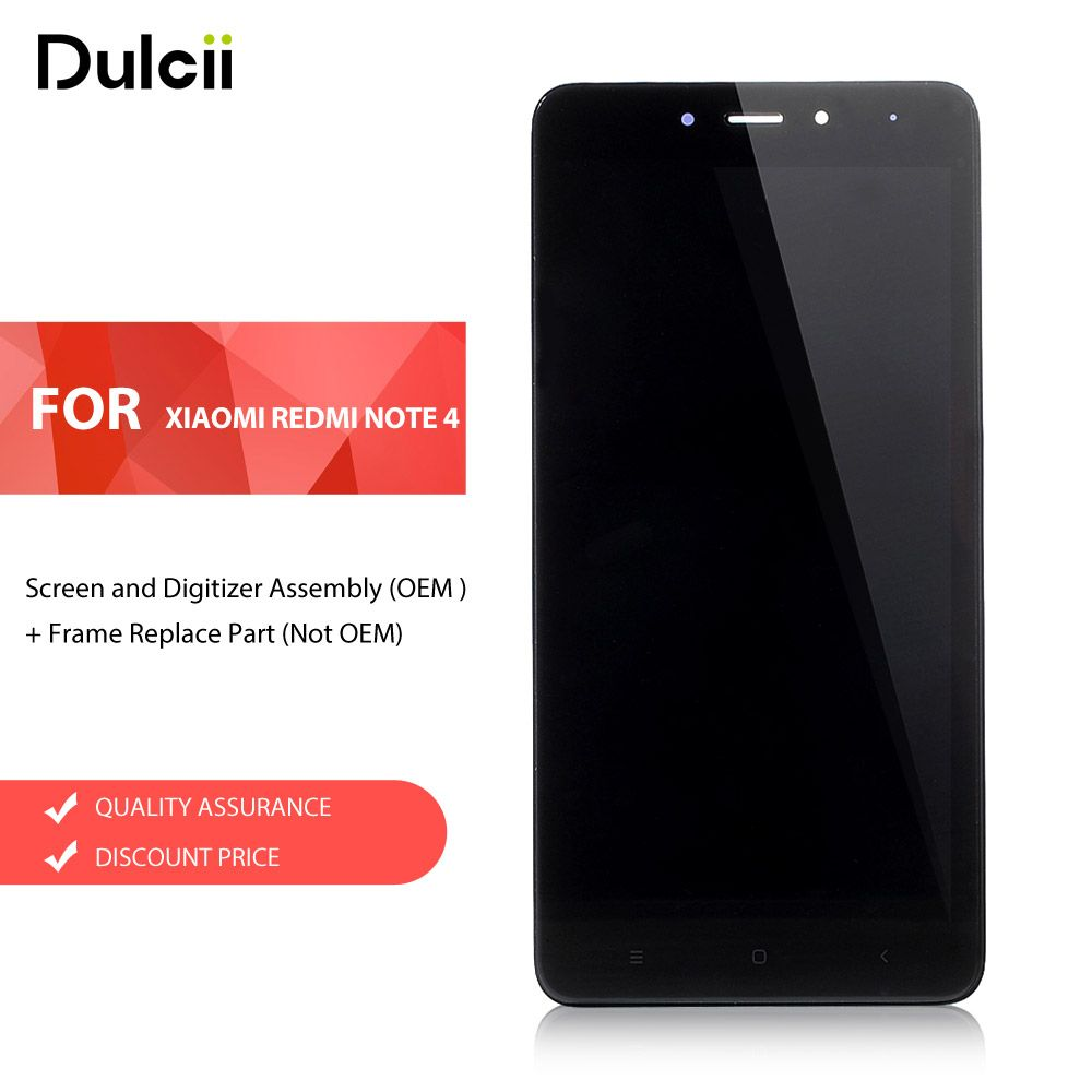 Dulcii for Xiaomi Redmi Note 4 (MediaTek) LCD Screen and Digitizer Assembly (OEM ) + Frame Replace Part (Not OEM) for Xiomi