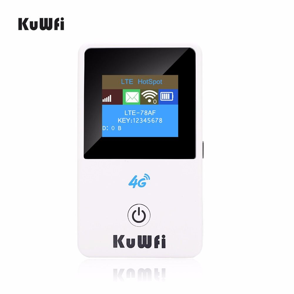 KuWFi Unlocked 150Mbps 4G Mini Wifi Router 3G 4G Lte Wireless Portable Pocket Mobile Hotspot Car Wi-fi Router With LCD Display