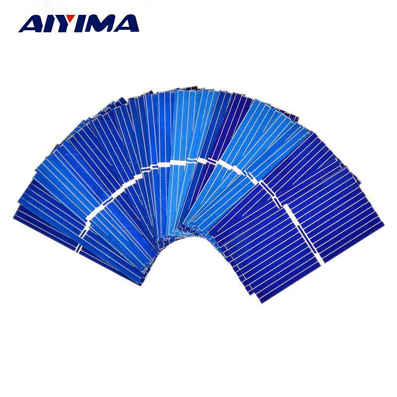 AIYIMA 100 pièces 0.12 W 0.5 V 0.24A 3919 39*19mm polycristallin silicium panneau solaire cellule solaire bricolage chargeur batterie