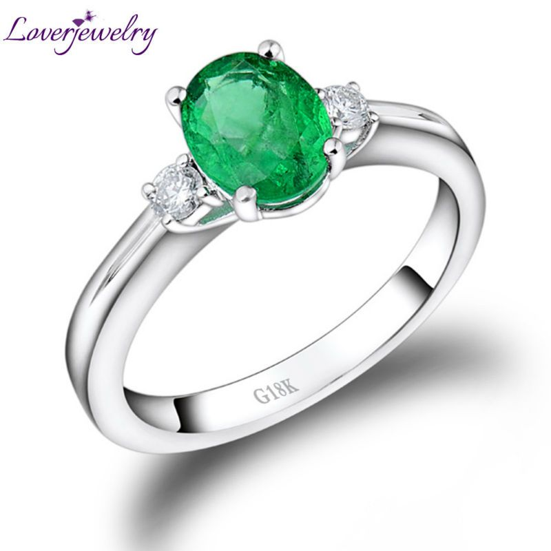 Fashion Ring Jewelry Engagement Rings For Women Oval 6x8mm Solid 18k White Gold Natural Diamond Emerald Party Ring Gift Jewelry