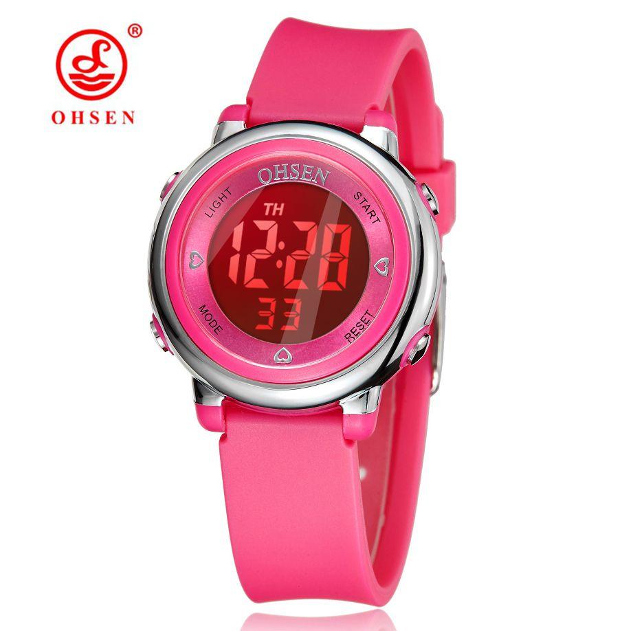 Los niños del Reloj de OHSEN Marca Digital LED Reloj de Moda Del Reloj Del Deporte Del Cabrito Lindo Reloj de Alarma Regalo reloj de Pulsera A Prueba de agua de Mano reloj