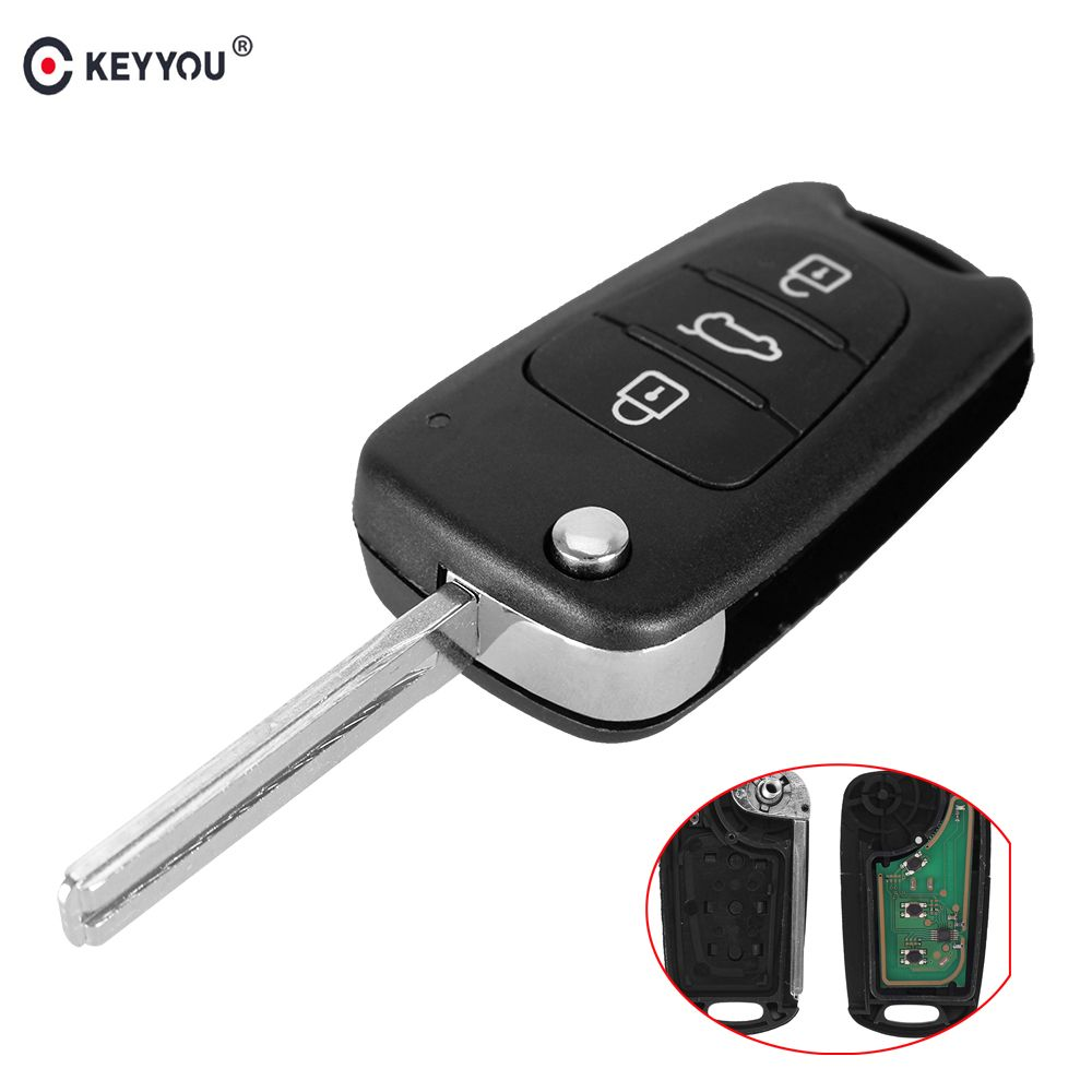 KEYYOU 3 Buttons Flip Folding Remote Key Fob Fit For Hyundai I30 IX35 433MHz Chip ID46 TOY40 Blade Replacement Car Key