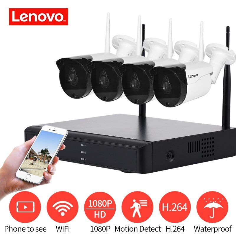 LENOVO 4CH Array HD Hause WiFi Wireless Security Camera System DVR Kit 1080 p CCTV WIFI Außen Full HD NVR überwachung Kit Bewertet