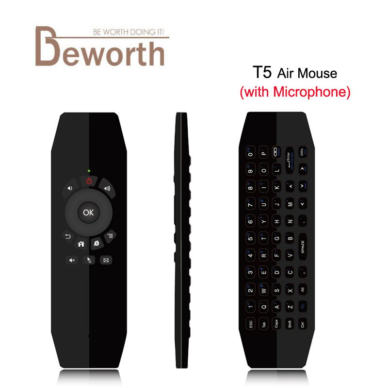 T5 Mic 2.4G Wireless Fly Air Mouse with Microphone Voice Universal Remote Control Keyboard IR Learning For Android TV Box PC  T3