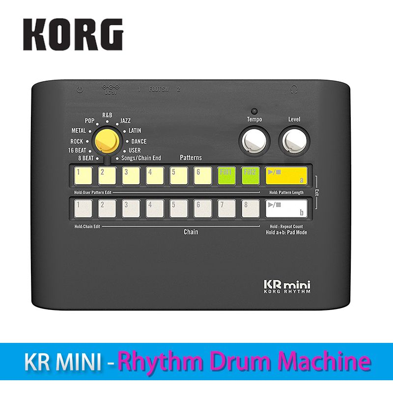 Korg KR Mini - Rhythm Drum Machine Power-up your practicing with diverse rhythm patterns