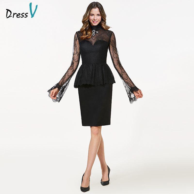 Dressv black high neck long sleeves cocktail dress sheath crystal lace knee length elegant cocktail dress formal party dress