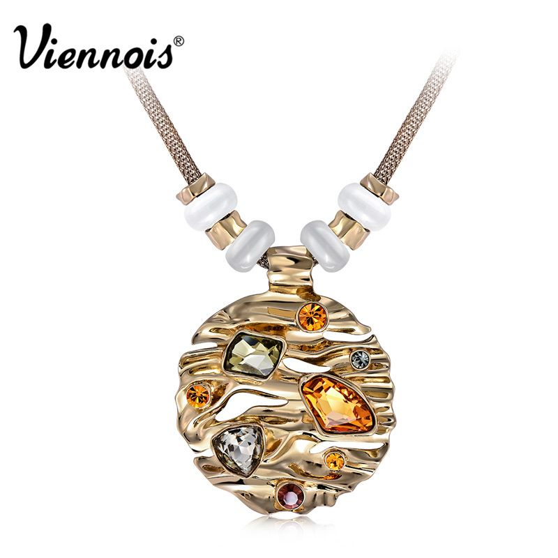 Hot Viennois Coffee Gold Color Round Pendant Necklace for Woman Large Crystal Multicolor Austrian Rhinestone Opal Stone Jewelry
