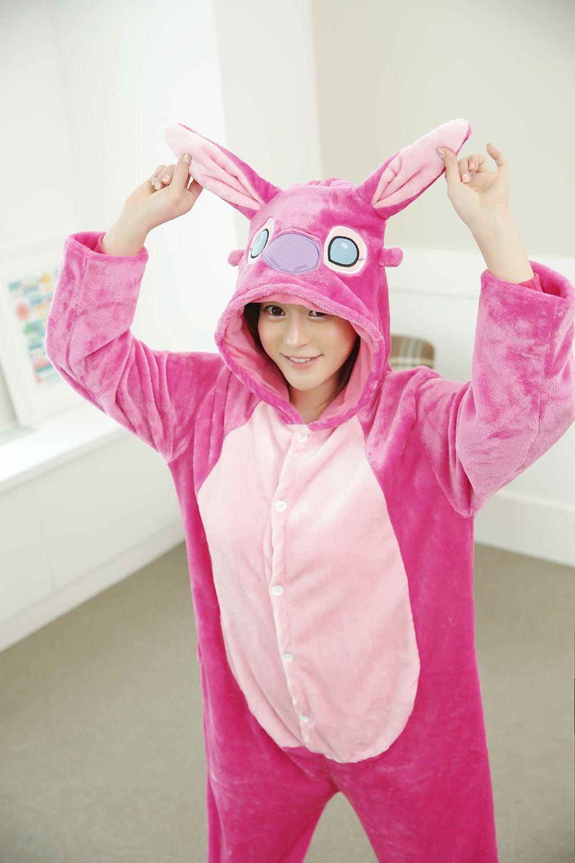 New Unisex Adult Flannel Pajamas Animal Pyjama Suits Cosplay Adult Winter Garment Cute Cartoon Animal Pajama Pink stitch