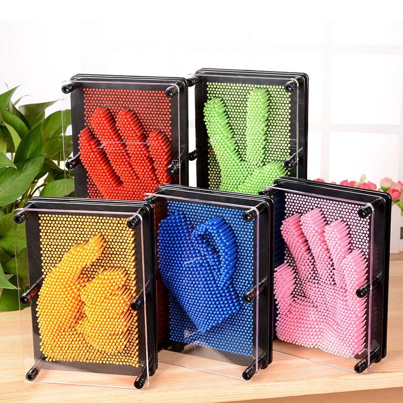 1 pc 3D Clone Pin Art En Plastique jouet drôle jeu Pinart 3D clone forme pin art Shoumo aiguille coloré enfant obtenir visage palm modèle