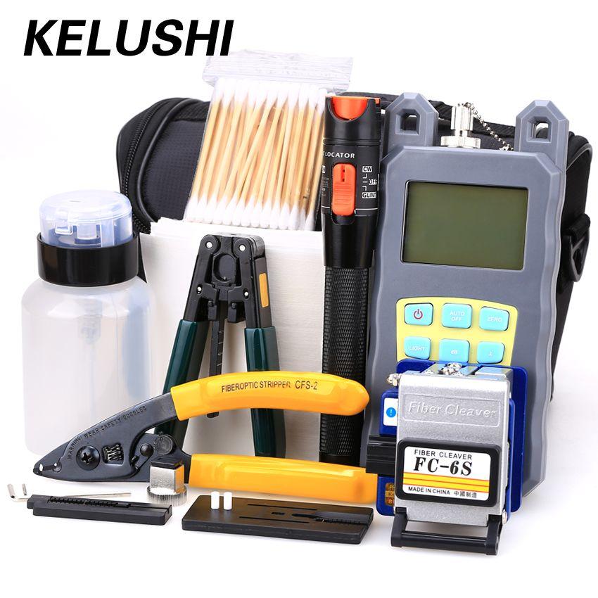 KELUSHI 21 in 1 Faser Ftth Tool Kit mit FC-6S Faser-spalter, optische Leistungsmesser, 10 km Visuellen Fehlersuch abisolierzange