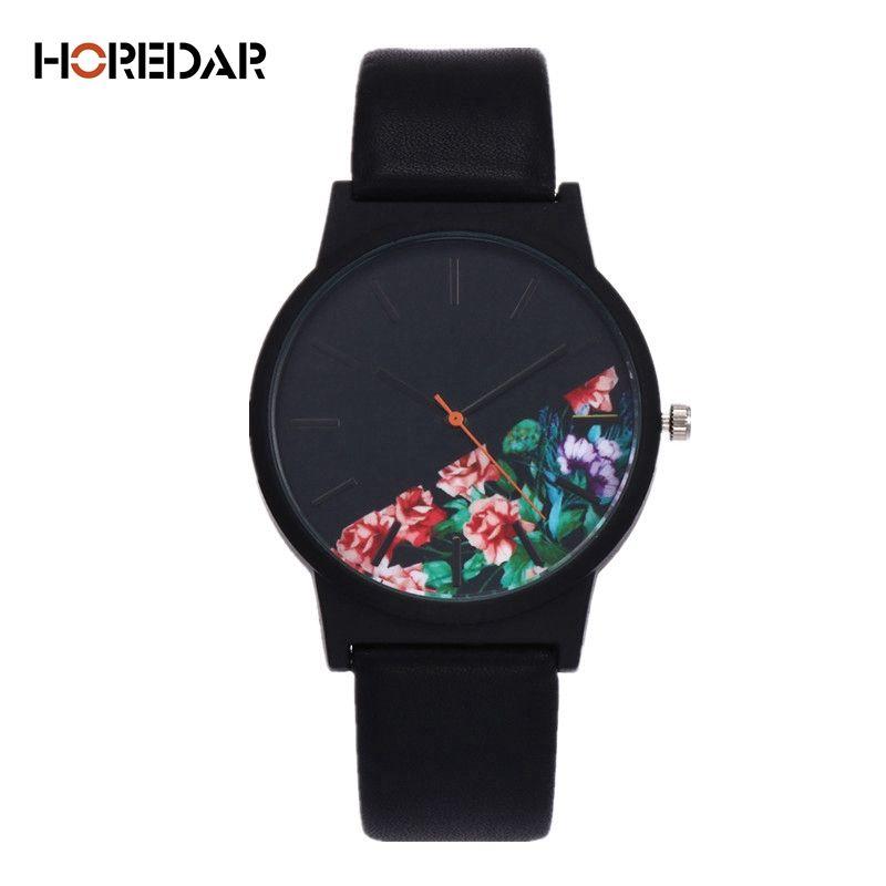 Nouveau Vintage en cuir femmes montres 2017 luxe Top marque motif Floral montre à quartz décontractée femmes horloge Relogio Feminino