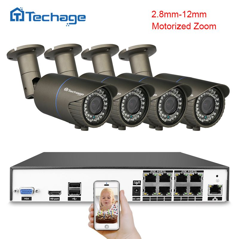 Techage H.265 4MP CCTV System 8CH POE NVR Kit 2.8mm-12mm Motorized Zoom Auto Lens IP Camera Outdoor Waterproof Security DIY Kit
