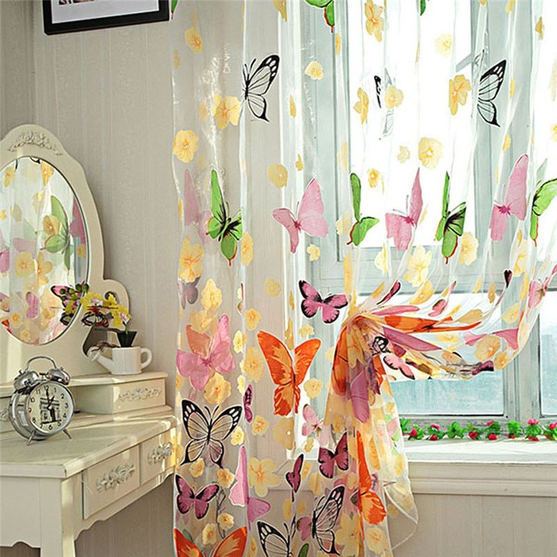Butterfly Tulle Window Screens Sheer Voile Door Curtains Drape Panel or Scarf Assorted Curtain New