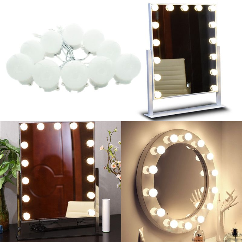 Makeup Mirror LED Lights 10 Hollywood Vanity Light Bulbs for Dressing Table with Dimmer and Plug in,Linkable,Mirror not included