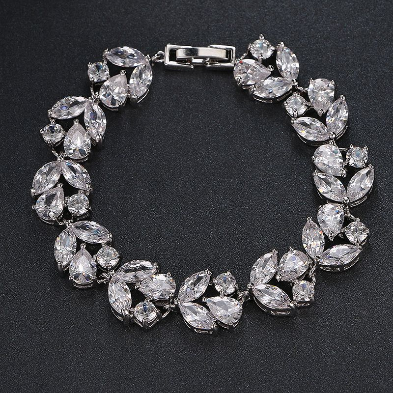 Emmaya De Luxe Blanc/Or Couleur Bracelet pour les Femmes Dames Brillant AAA Zircon Cubique Cristal D'anniversaire Bijoux Cadeau De Mariage De Partie