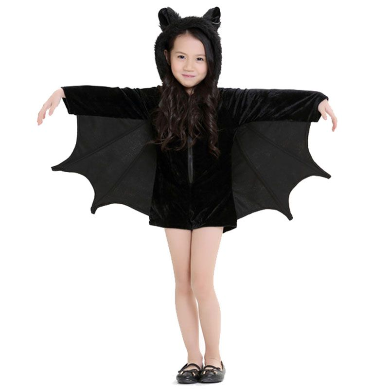New Child Animal Cosplay Cute Bat Costume Kids Halloween Costumes For Girls Black Zipper Jumpsuit Connect Wings Batman Clothes