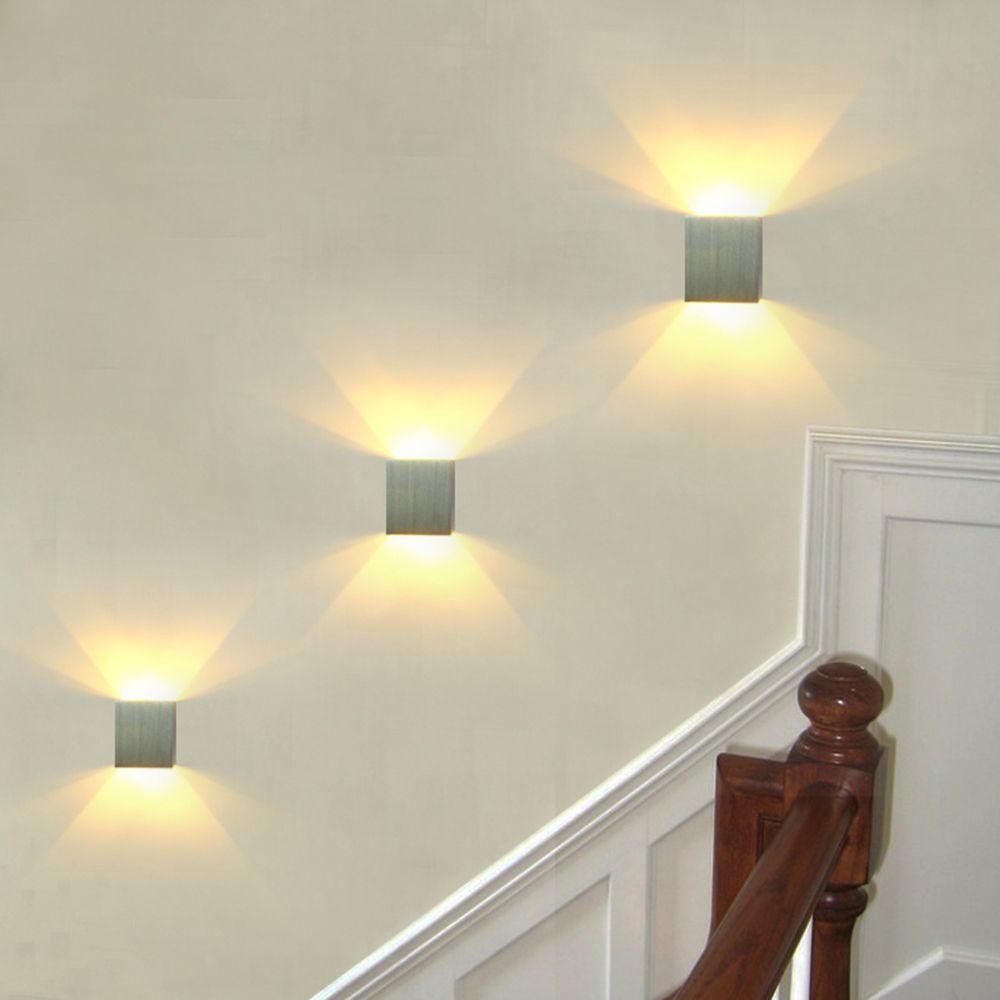 3 pcs/lot carré mur LED lampe applique mur LED lumière arandelas para parede aluminium 3 W 110 V 220 V KTV BAR marche escalier Foyer JQ