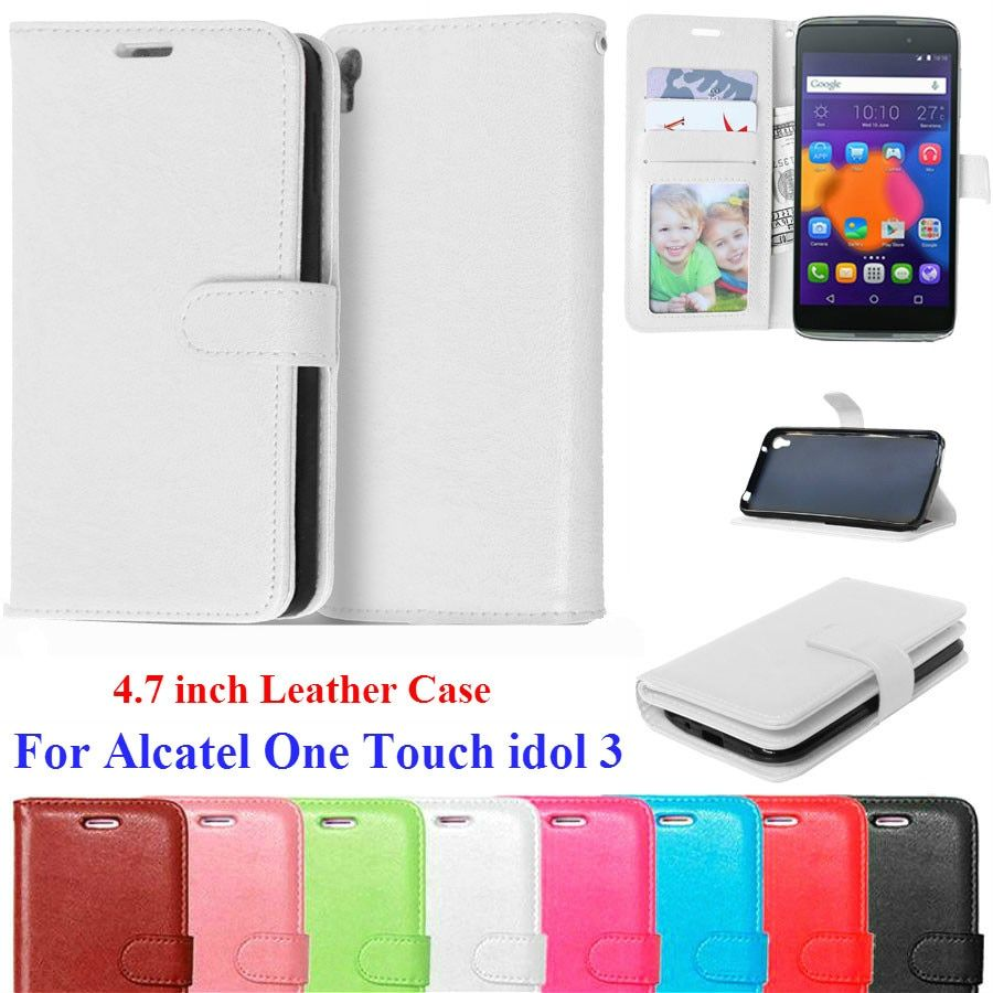 Luxury Leather Wallet Flip Cover Case For Alcatel One Touch Idol 3 4.7 Case 6039 6039Y Phone Bags Coque For Alcatel Idol 3 Case