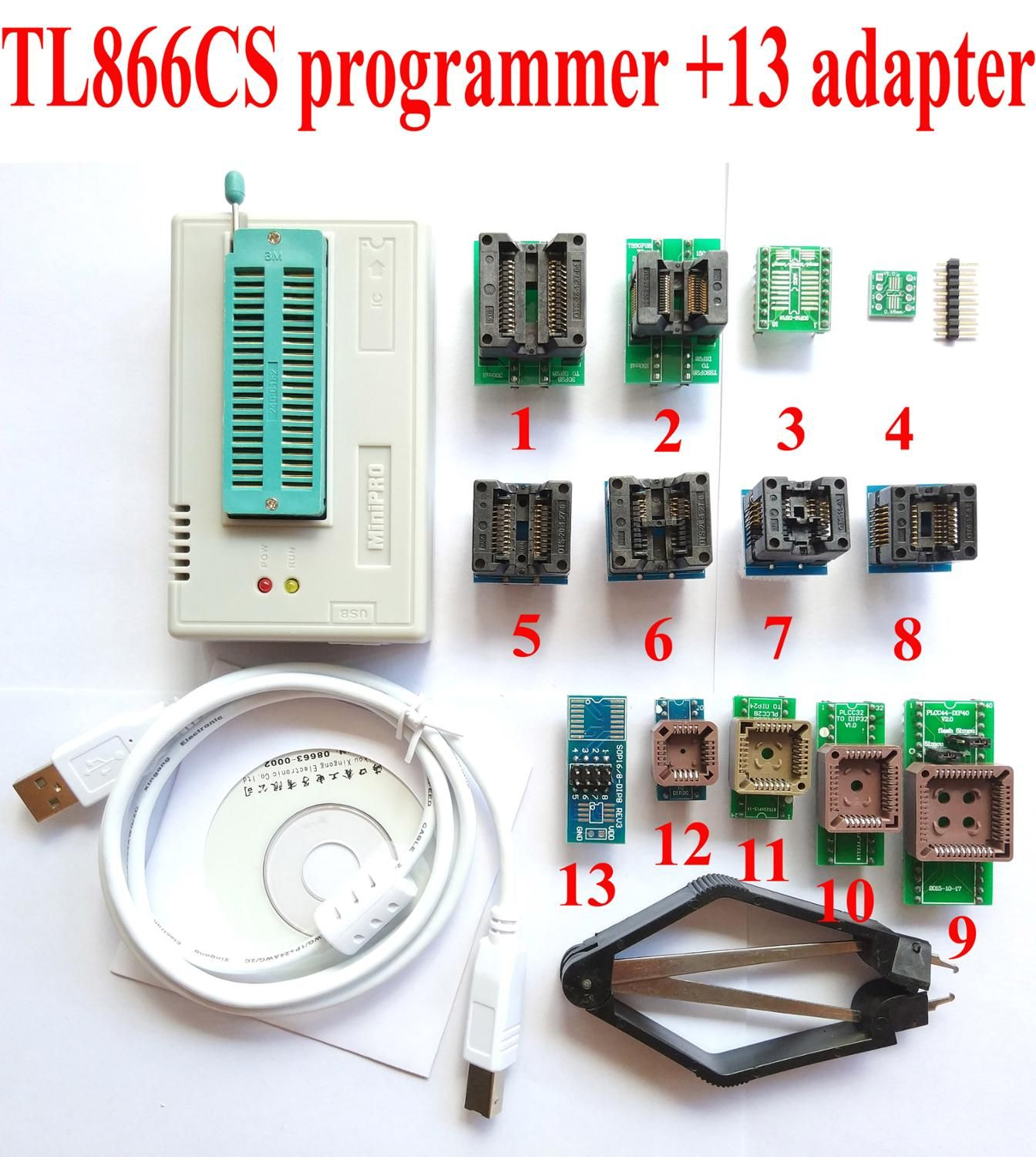 TL866CS programmer +13 universal adapters PLCC Extractor TL866 AVR PIC Bios 51 MCU <font><b>Flash</b></font> EPROM Programmer Russian English manual