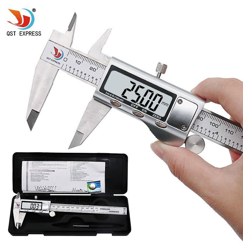 QSTEXPRESS 0-150mm/6 Metal casing Digital CALIPER VERNIER caliper metal digital caliper GAUGE MICROMETER