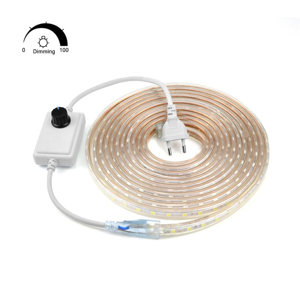 Dimmable Waterproof 220V LED Strip with EU plug 5050 SMD 60leds/m LED light Garden Outdoor home String light With EU Plug Dimmer