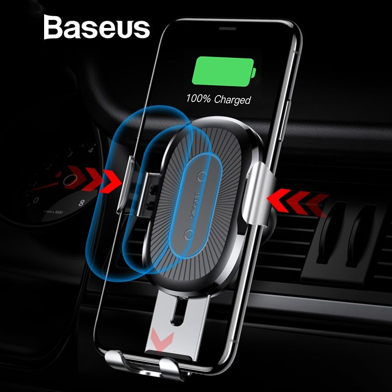 Baseus Wireless Car Charger Phone Holder For iPhone X 8 8plus Samsung S9 S8 Fast Wireless Charging Charger Phone Holder in car