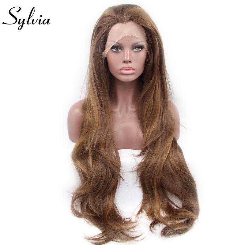 Sylvia onda de agua marrón de encaje sintético pelucas delanteras envío libre de aspecto natural estilo libre sin cola resistente al calor de fibra de pelo de la mujer