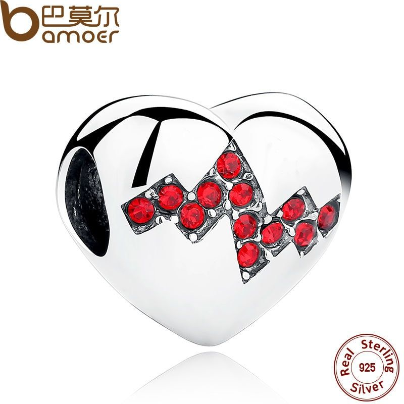 BAMOER New Arrival 925 Sterling Silver Red Crystals Heart Beads Charms for Jewelry Making Mother Gift SCC017