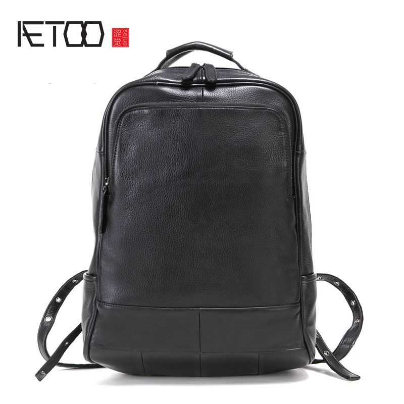 AETOO Leather men's shoulder bag head layer leather backpack fashion trend bag business computer bag