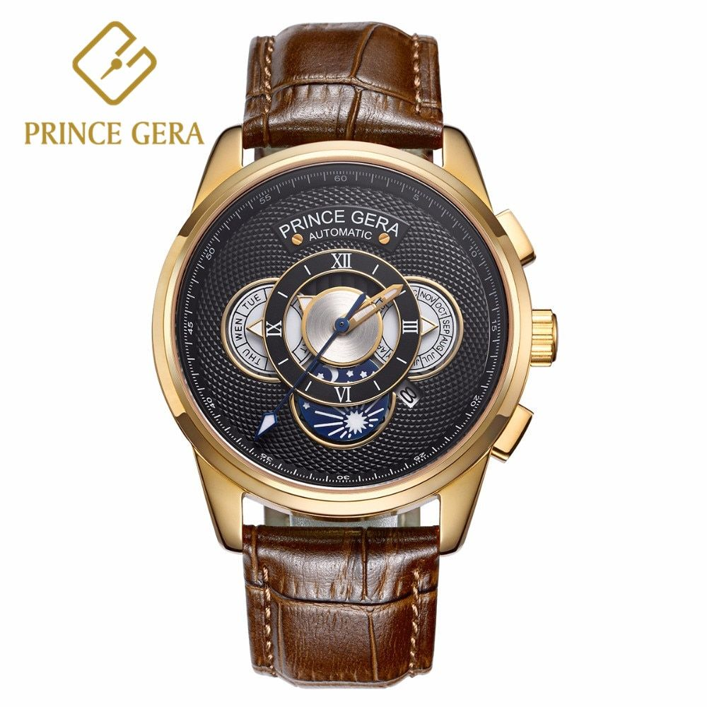 PRINCE GERA Mechanical Watch Men Luxury 18K Gold Three Dial With Calendar Automatic Men's Watches Genuine Leather Watch For Men