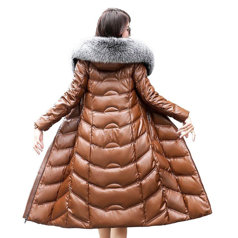 Hohe qualität Winter Frauen Schafe Leder Unten Jacke 2019 Große fuchs pelz kragen Mit Kapuze Mantel Weiblichen Plus größe Verdicken Warme lange Mäntel