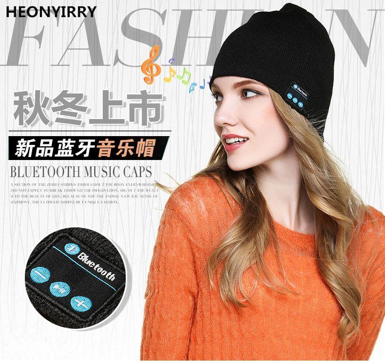 HEONYIRRY Beanie Hat Cap Auricular Bluetooth Inalámbrico Inteligente Sport Stereo Music Headset auriculares Micrófono Altavoz de Invierno Al Aire Libre Sombrero