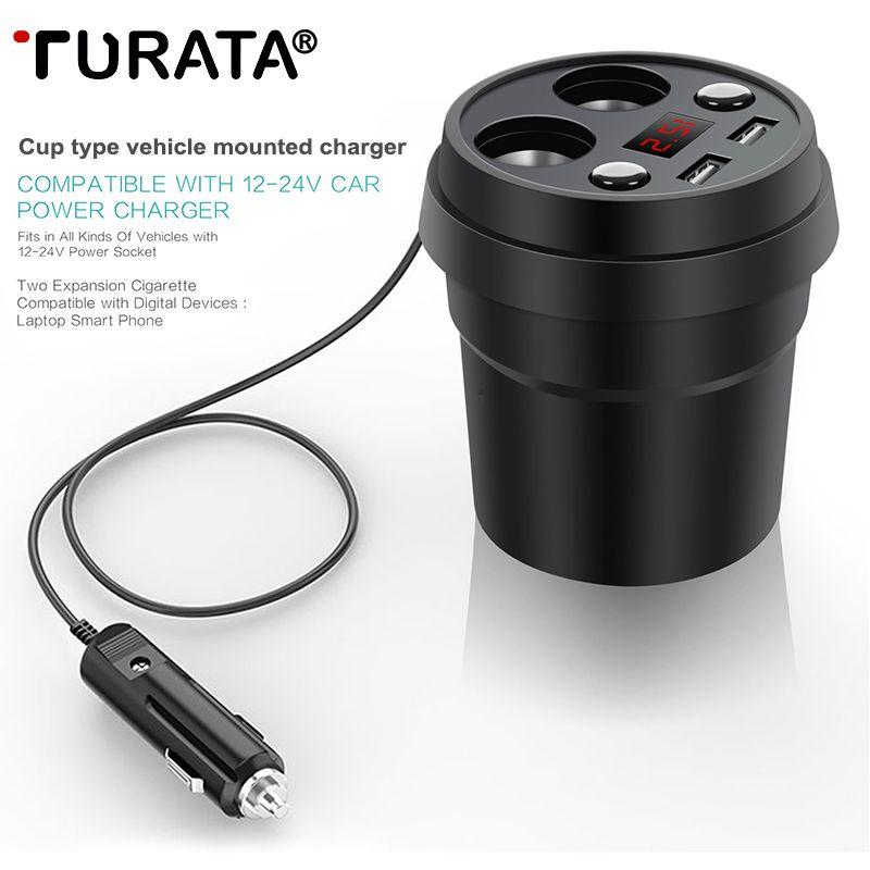 Turata Chargeur De Voiture Socket 2 USB Tasse Puissance Adaptateur Allume-cigare Splitter Portabl Mobile Téléphone De Voiture-Chargeur Charge Rapide