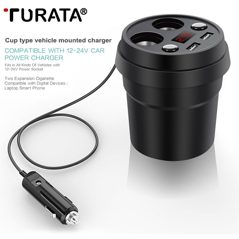 Turata Car Charger 2 USB Cup Power Socket Adapter Cigarette Lighter Splitter Mobile Phone Car-Charger With Voltage LED Display