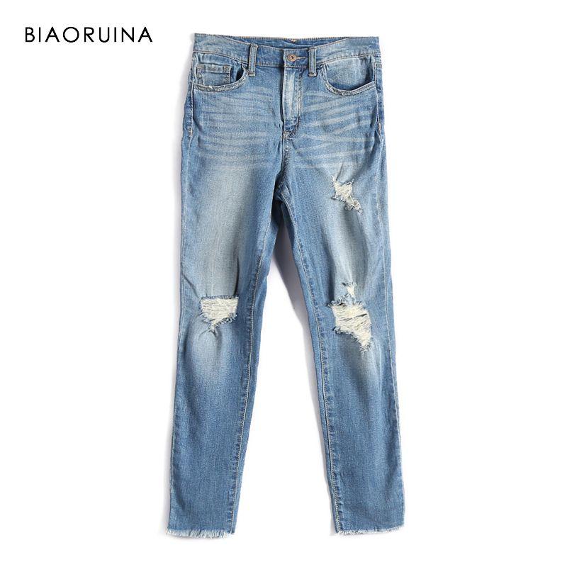 BIAORUINA Femmes Mode Lavage Rayé Denim Jeans Femme décontracté Trous Jeans Haute Rue Jeans Élégants Printemps nouveauté