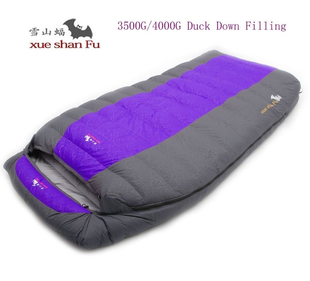 High quality double person 3500g/4000g duck down filling comfortable camping sleeping bag