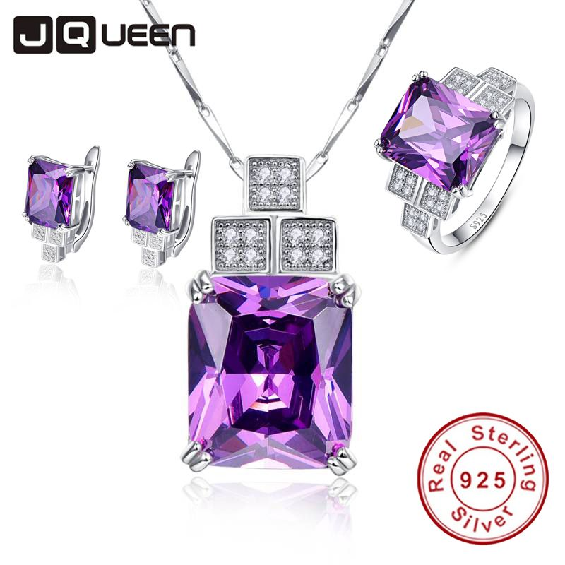 Fine Jewellry Women Wedding Accessories Bride Jewelry Set Geometric Amethyst Pendant Necklace with Stud Earrings & Silver Ring